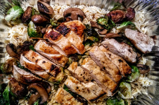 Meals for Mom, Chicken Piccata with Brussel Sprouts, Mushrooms and Orzo