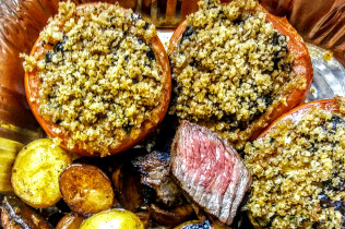 Meals for Mom, Grilled Steak Tips, Vinegar & Salt Potatoes and Stuffed Tomatoes