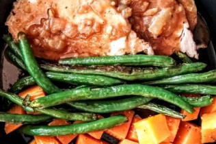 Meals for Mom - Roast Pork Loin with Onion Gravy, Green Beans and Roasted Butternut Squash